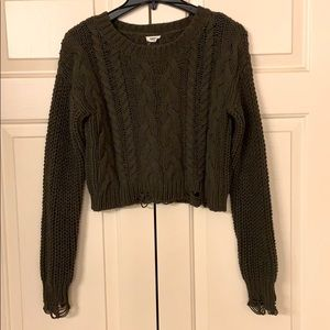 Garage cropped olive green sweater